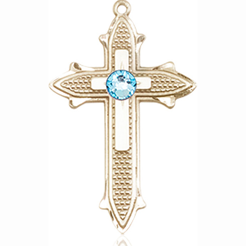 14kt Yellow Gold 7/8in Cross on Cross Medal with 3mm Aqua Bead