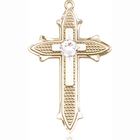 14kt Yellow Gold 7/8in Cross on Cross Medal with 3mm Crystal Bead