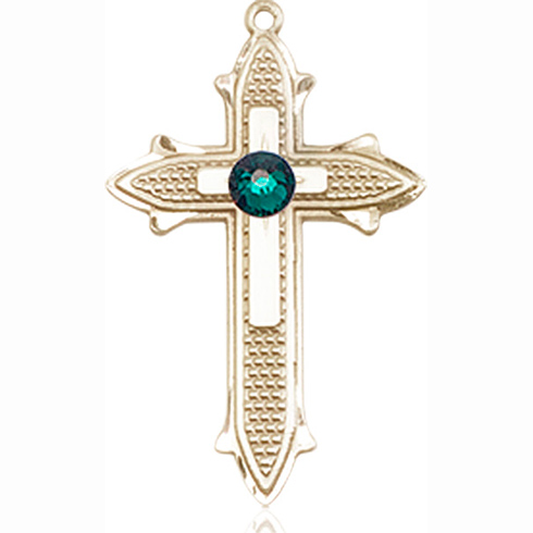 14kt Yellow Gold 7/8in Cross on Cross Medal with 3mm Emerald Bead