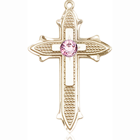 14kt Yellow Gold 7/8in Cross on Cross Medal with 3mm Light Amethyst Bead