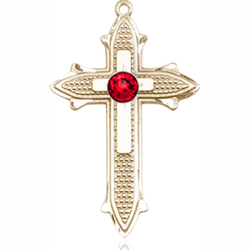 14kt Yellow Gold 7/8in Cross on Cross Medal with 3mm Ruby Bead