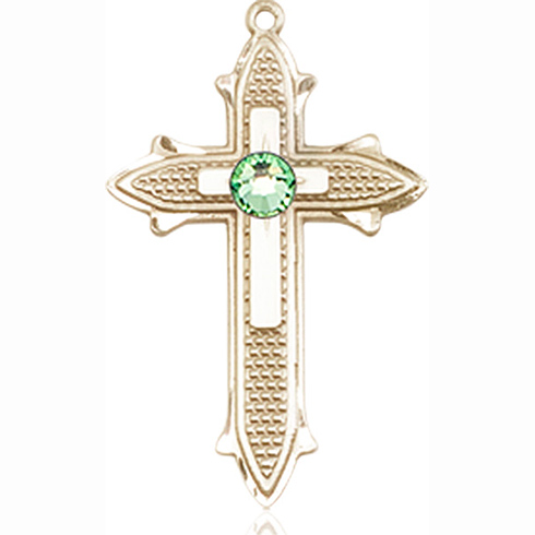 14kt Yellow Gold 7/8in Cross on Cross Medal with 3mm Peridot Bead