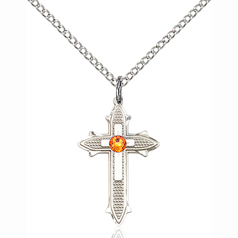 Sterling Silver 7/8in Cross on Cross Pendant with 3mm Topaz Bead & 18in Chain