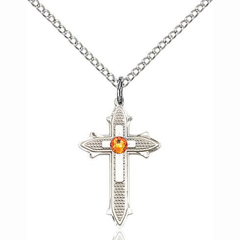 Sterling Silver 7/8in Topaz Bead Cross Pendant & 18in Chain