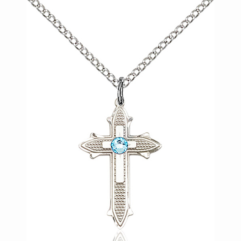 Sterling Silver 7/8in Cross on Cross Pendant with 3mm Aqua Bead & 18in Chain