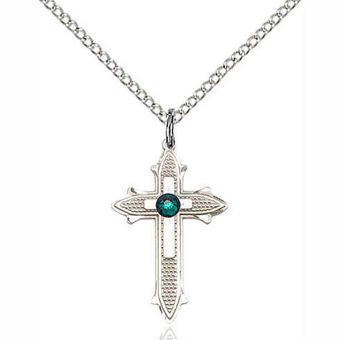 Sterling Silver 7/8in Cross on Cross Pendant with 3mm Emerald Bead & 18in Chain