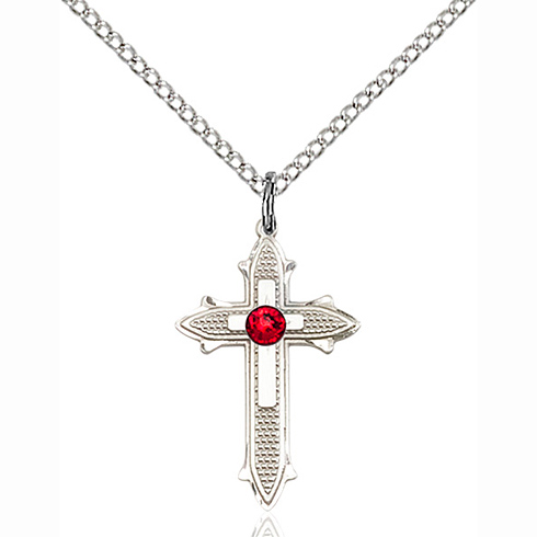 Sterling Silver 7/8in Cross on Cross Pendant with 3mm Ruby Bead & 18in Chain