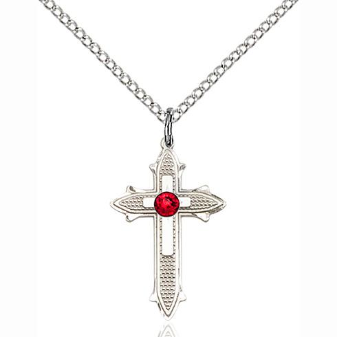 Sterling Silver 7/8in Ruby Bead Cross Pendant & 18in Chain