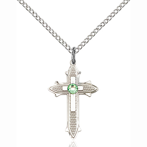 Sterling Silver 7/8in Cross on Cross Pendant with 3mm Peridot Bead & 18in Chain