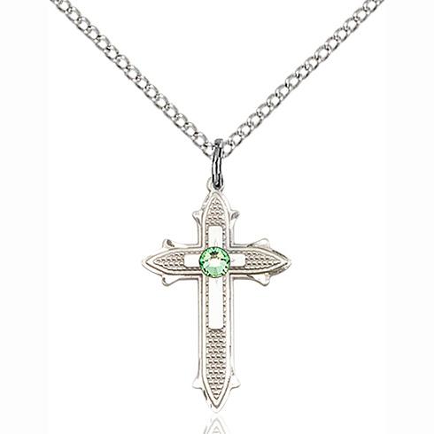 Sterling Silver 7/8in Peridot Bead Cross Pendant & 18in Chain