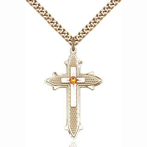 Gold Filled 1 3/8in Topaz Bead Cross Pendant & 24in Chain