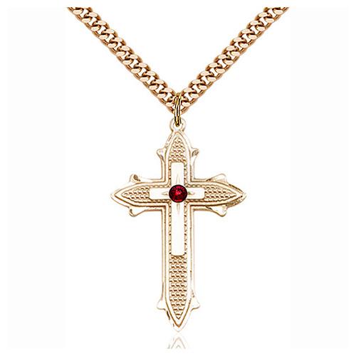 Gold Filled 1 3/8in Garnet Bead Cross Pendant & 24in Chain