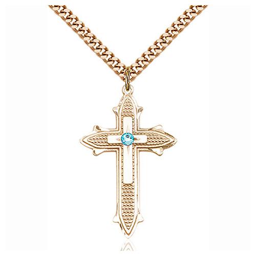 Gold Filled 1 3/8in  Aqua Bead Cross Pendant & 24in Chain