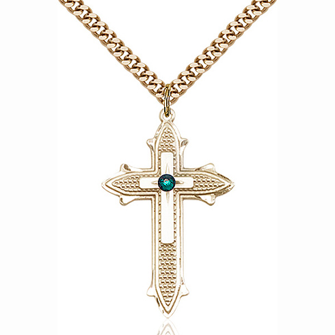 Gold Filled 1 3/8in Cross on Cross Pendant with 3mm Emerald Bead & 24in Chain