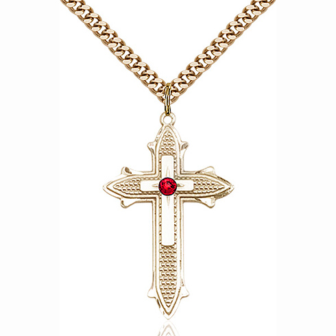 Gold Filled 1 3/8in Cross on Cross Pendant with 3mm Ruby Bead & 24in Chain