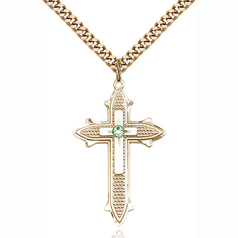 Gold Filled 1 3/8in Cross on Cross Pendant with 3mm Peridot Bead & 24in Chain
