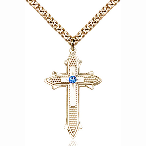 Gold Filled 1 3/8in Cross on Cross Pendant with 3mm Sapphire Bead & 24in Chain