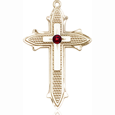 14kt Yellow Gold 1 3/8in Cross on Cross Medal with 3mm Garnet Bead