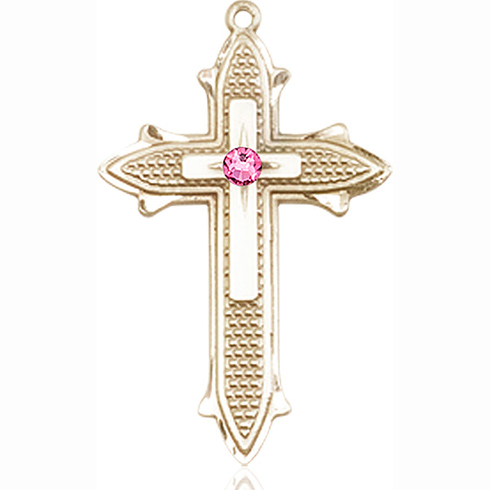 14kt Yellow Gold 1 3/8in Cross on Cross Medal with 3mm Rose Bead