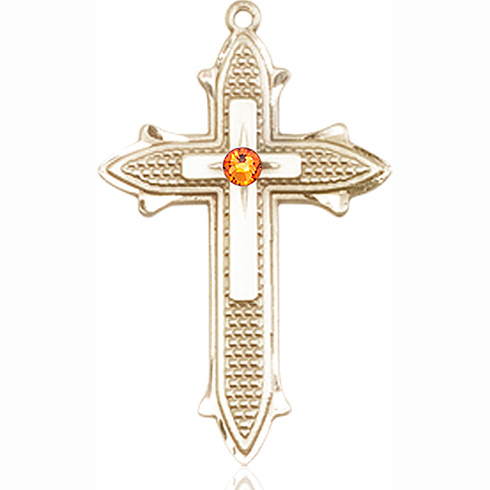 14kt Yellow Gold 1 3/8in Cross on Cross Medal with 3mm Topaz Bead