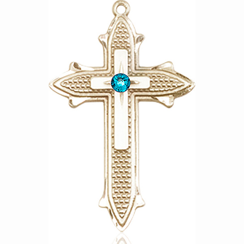 14kt Yellow Gold 1 3/8in Cross on Cross Medal with 3mm Zircon Bead