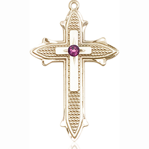 14kt Yellow Gold 1 3/8in Cross on Cross Medal with 3mm Amethyst Bead