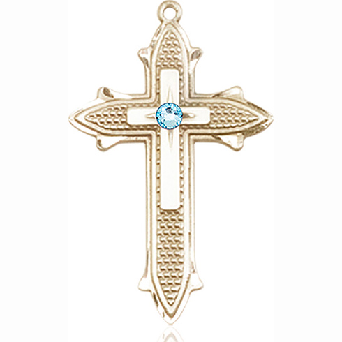 14kt Yellow Gold 1 3/8in Cross on Cross Medal with 3mm Aqua Bead