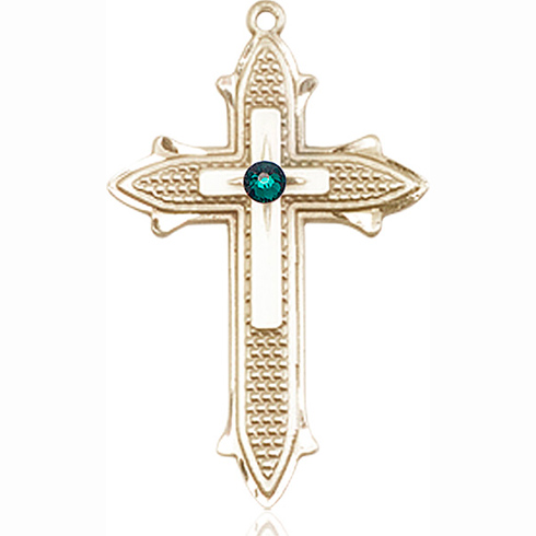 14kt Yellow Gold 1 3/8in Cross on Cross Medal with 3mm Emerald Bead