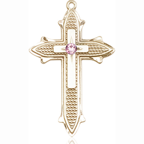 14kt Yellow Gold 1 3/8in Cross on Cross Medal with 3mm Light Amethyst Bead