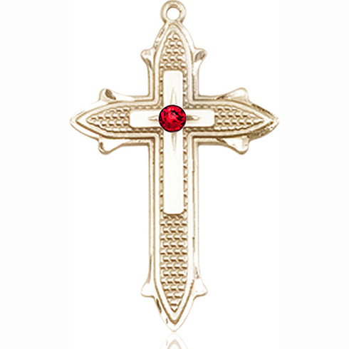 14kt Yellow Gold 1 3/8in Cross on Cross Medal with 3mm Ruby Bead
