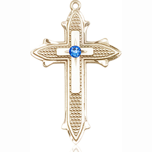14kt Yellow Gold 1 3/8in Cross on Cross Medal with 3mm Sapphire Bead