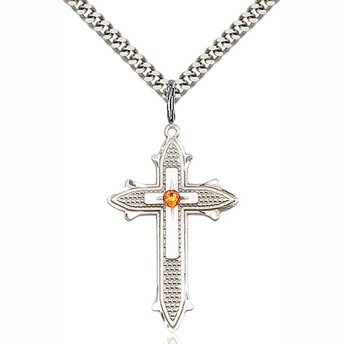 Sterling Silver 1 3/8in Cross on Cross Pendant with 3mm Topaz Bead & 24in Chain