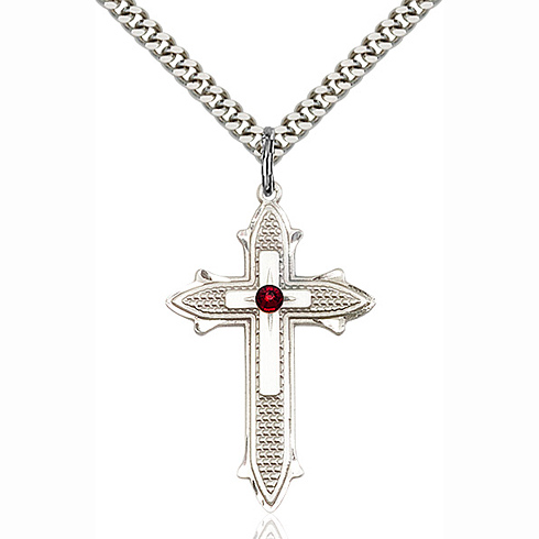 Sterling Silver 1 3/8in Garnet Bead Cross Pendant & 24in Chain