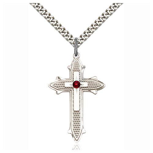 Sterling Silver 1 3/8in Cross on Cross Pendant with 3mm Garnet Bead & 24in Chain
