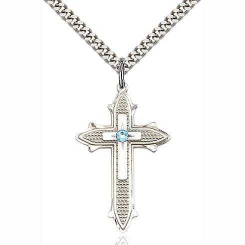 Sterling Silver 1 3/8in Cross on Cross Pendant with 3mm Aqua Bead & 24in Chain