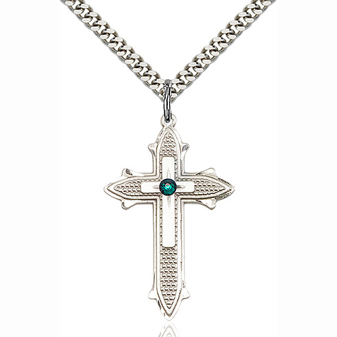 Sterling Silver 1 3/8in Cross on Cross Pendant with 3mm Emerald Bead & 24in Chain