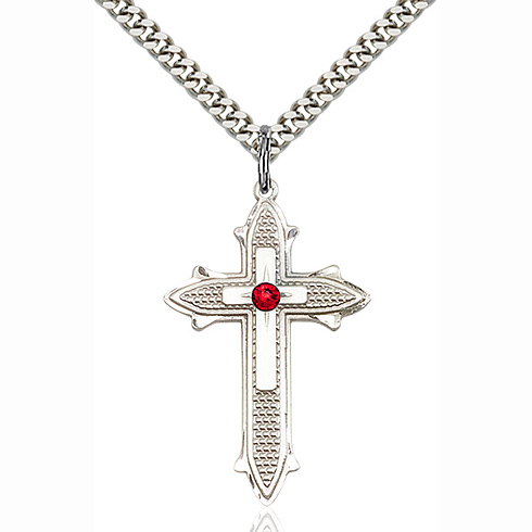 Sterling Silver 1 3/8in Cross on Cross Pendant with 3mm Ruby Bead & 24in Chain