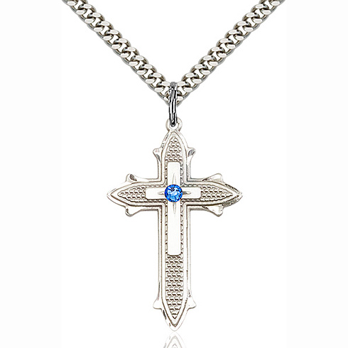 Sterling Silver 1 3/8in Cross on Cross Pendant with 3mm Sapphire Bead & 24in Chain