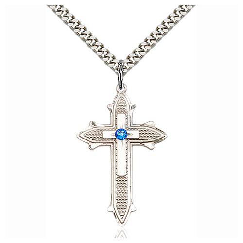 Sterling Silver 1 3/8in Sapphire Bead Cross Pendant & 24in Chain