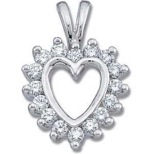 14kt White Gold 1/3 ct Diamond Heart Pendant
