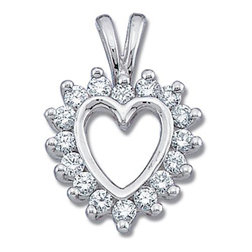 14kt White Gold 1/3 ct Diamond Heart Pendant