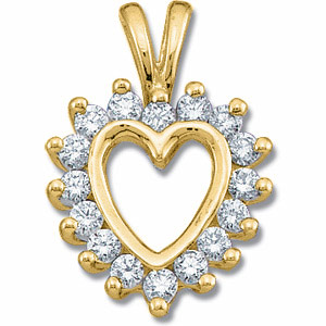 14kt Yellow Gold 1/3 CT TW Diamond Heart Pendant