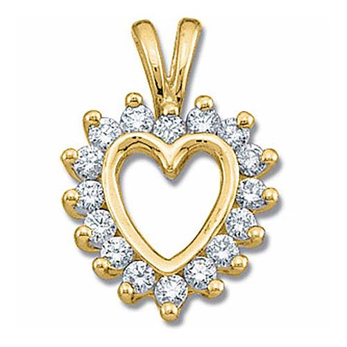 14kt Yellow Gold 1/3 CT TW Diamond Heart Pendant