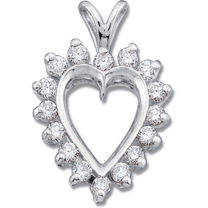 1/2 CT TW Diamond Heart Pendant 14k White Gold