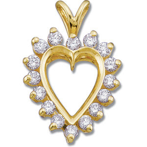 1/2 CT TW Diamond Heart Pendant 14k Yellow Gold