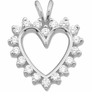 9/10 CT TW Diamond Heart Pendant 14k White Gold