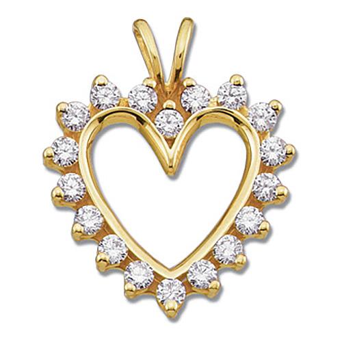 9/10 CT TW Diamond Heart Pendant 14k Yellow Gold