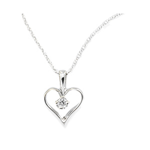 14kt White Gold .03 CT TW Diamond Heart with 18in Chain