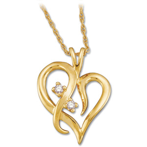 14kt Yellow Gold .03 ct Diamond Heart Pendant with Chain