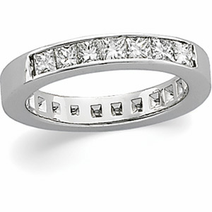 14k White Gold 3/4 CT TW Princess-cut Diamond 7 Stone Ring